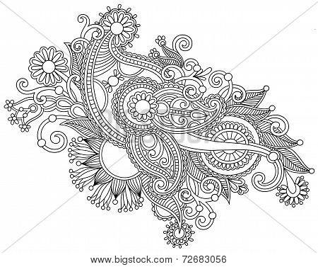 Hand draw black and white line art ornate flower design