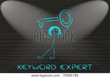 Girl Holding Oversized Key, Keyword Expert