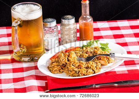 Shrimp And Chicken Jambalaya With Beer
