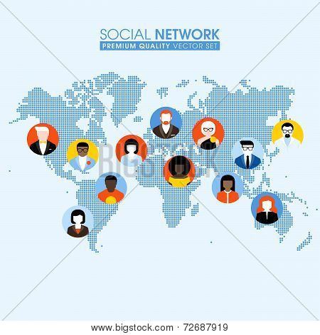 Social Network Flat Concept With Communicating People On A Dotted World Map