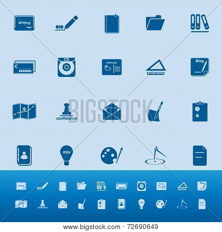 Writing Related Color Icons On Blue Background