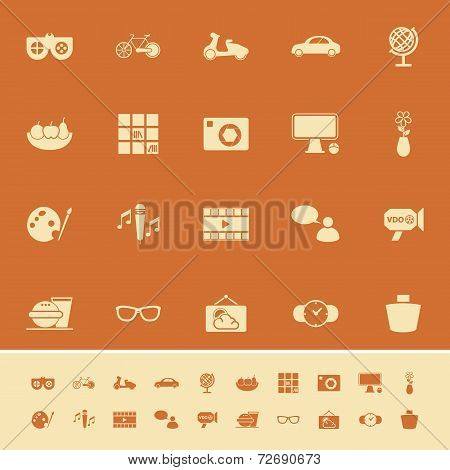 Favorite And Like Color Icons On Orange Background