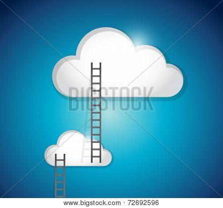 Cloud Ladder Steps Illustration Design