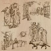 Halloween (Cemeteries) - Collection (no.1) of an hand drawn illustrations. Description: Each drawing comprise of three layer of outlines the colored background is isolated. poster