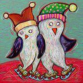 doodle penguin couple ice skate, digital painting illustration poster