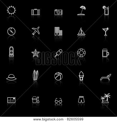 Summer Line Icons With Reflect On Black Background