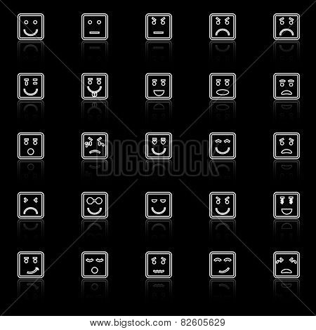 Square Face Line Icons With Reflect On Black Background
