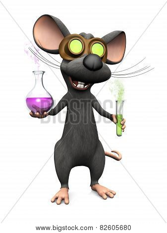 Mad Cartoon Mouse Doing A Science Experiment.