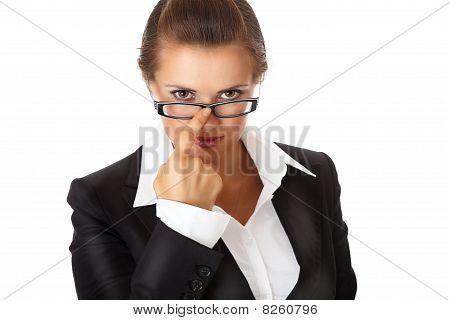 modern business woman straightening eyeglasses