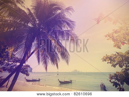 Vintage Stylized Photo Of Andaman Sea Coast, Aonang In Thailand.