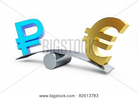 Sign Of The Russian Ruble In The Balance With Euro Sign