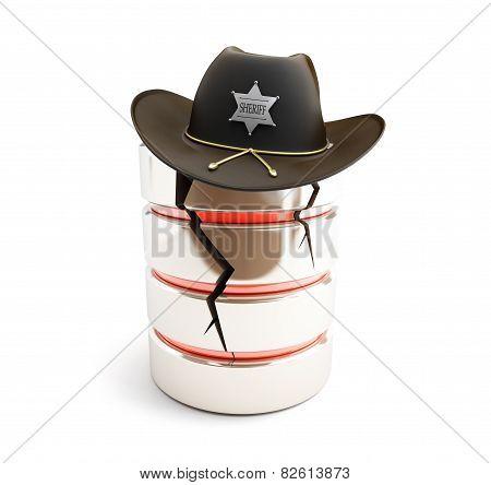 Broken Database, Sheriff Hat On A White Background