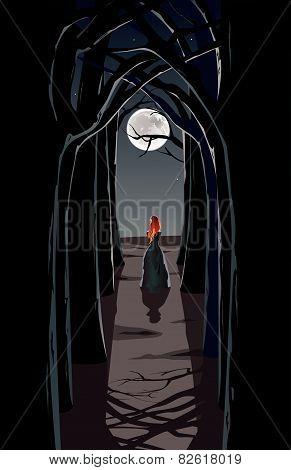 Girl in night wood