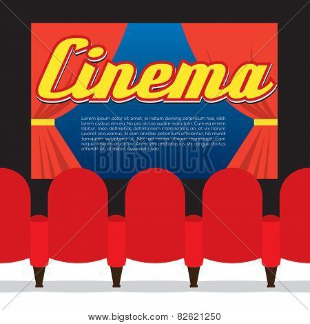 Cinema Seats In Front Of Screen.