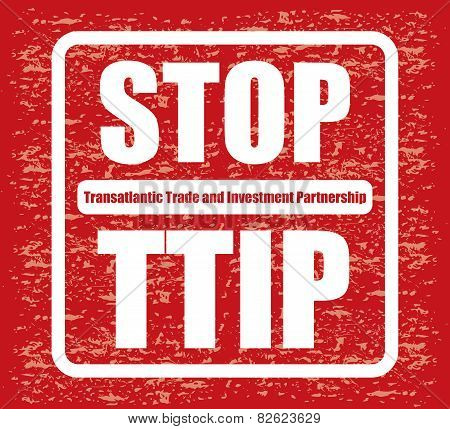 Red Banner Or Poster With Stop Ttip Sign