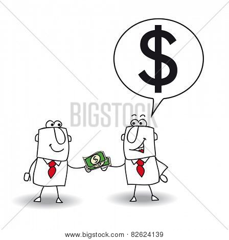 lend money. Joe lends money at his friend for a business project