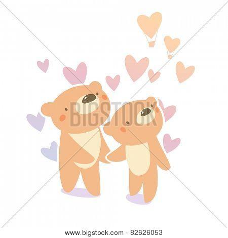 Teddy bear couple in love
