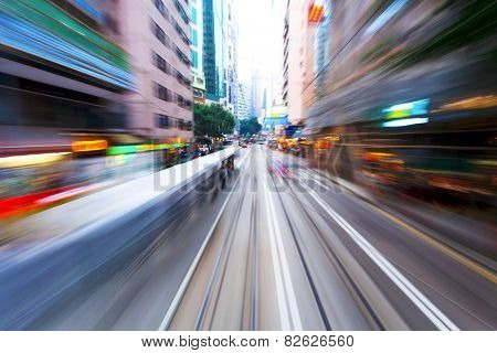 traffic blur motions in modern city hong kong street