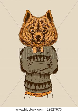 Illustration of a Hipster Dog.