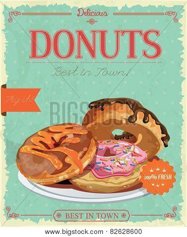 Vintage donuts poster with label. Retro style. Set of donuts. poster