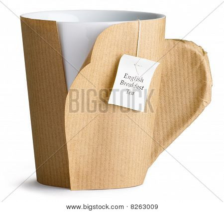 Coffee , Tea ,cup, Mug Wrapped Up In Brown Paper