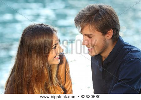Couple Looking Each Other In Love On Vacations