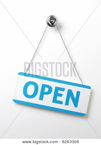 Process Blue Angled Open Door Sign On A Silver Chain On A White Background
