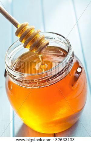 honey dipper and honey in jar poster