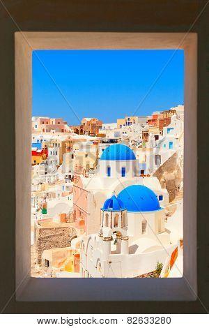 Framed view of Oia, Santorini