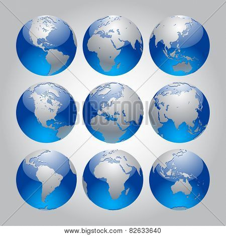 Set of silver and blue Earth in different views of the continents. Modern Globe icon set. Vector design elements