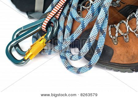 Climbing And Hiking Gear - Carabiners, Rope And Boots