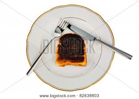 toast was burnt during toasting. burnt toast at breakfast. poster
