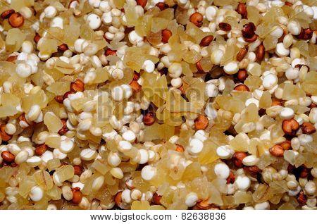 Dried Quinoa and Bulgar Wheat.