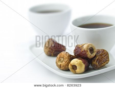 Dates and black coffee.