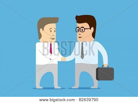 Two characters businessman made a deal and shaking hands