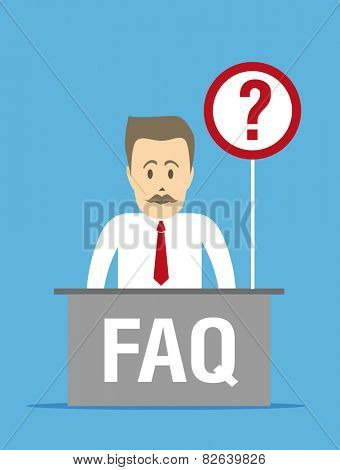 FAQ icon. Information desk and an employee sitting behind it.