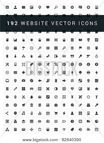 192 Flat icons vector set for web site design, infographics, ui and mobile apps. Objects, business, office, communication and digital marketing items