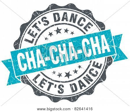 Cha-cha-cha Vintage Turquoise Seal Isolated On White