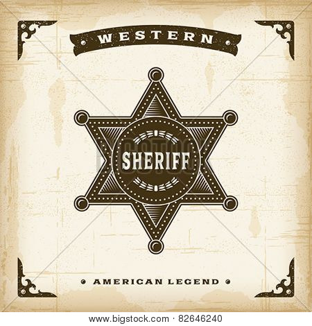 Vintage Western Sheriff Badge. Fully editable EPS10 vector.