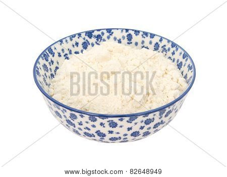 All Purpose Flour In A Blue And White China Bowl