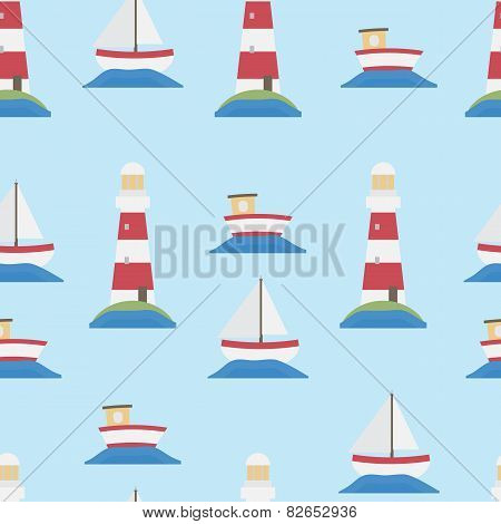 Seamless Lighthouse And Boats Background