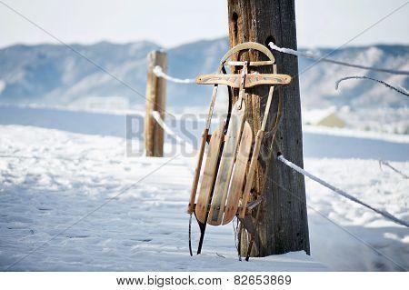 Vintage Sled in Snow Scene