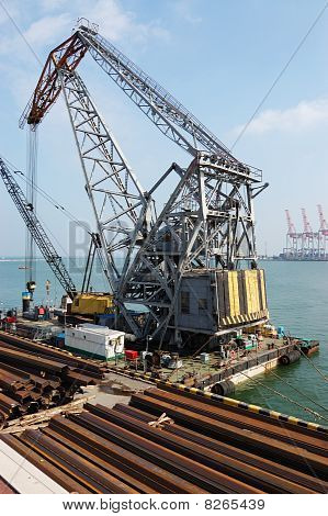 Floating Crane On The Site