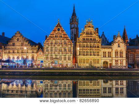 Quay Graslei in Ghent town at evening, Belgium
