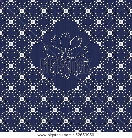 Traditional Japanese Embroidery Ornament with rhombs and sakura flower. Sashiko.