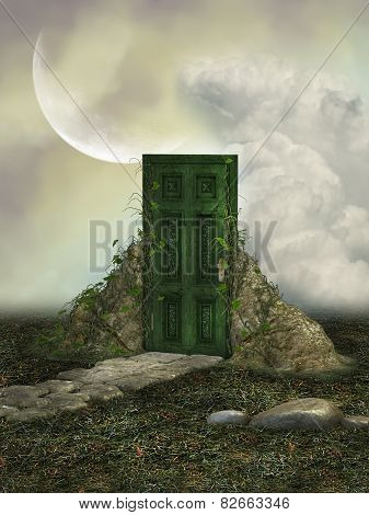 Fantasy landscape in the field with magic door poster