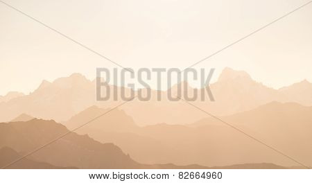 Red Toned High Mountain Silhouette