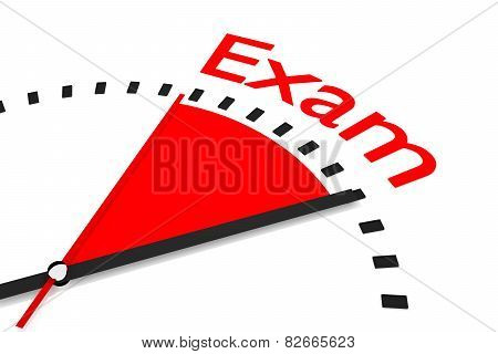 Clock With Red Seconds Hand Area Exam Illustration