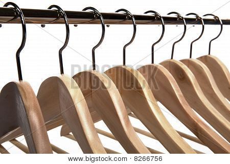 Clothes Hangers On A White Isolated Background