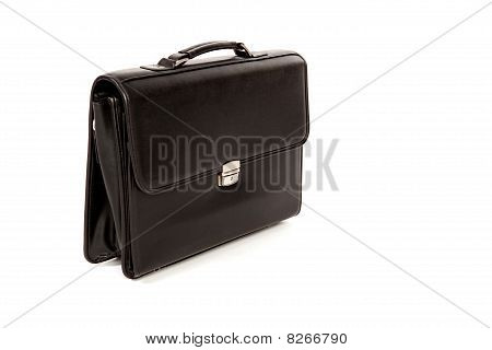 Black Suitcase On A White Isolated Background